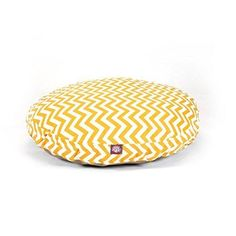 Large Yellow Chevron Stripes Pattern Dog Bed Elegant Zig Zag StripeInspired Pet Bedding Round Shape Features Water Stain Resists Removable Cover Soft Comfy Design Plush Polyester