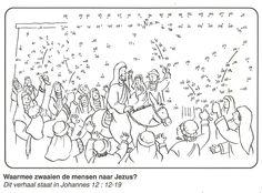 Jezus' intocht in Jeruzalem palmtakken van stip naar stip