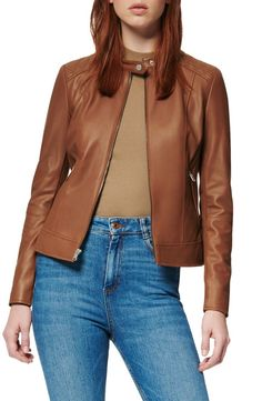 A cleanly styled leather jacket is a wear-anywhere piece, while knit side and sleeve panels bring enhanced fit and mobility. Style Name:Marc New York Glebrook Leather Jacket. Style Number: 6027978. Available in stores. #onlineshipping #jacket #outfits #style #costumes #outwear #leatherjacket #lifestyle #fashion #fashionblogger #jackets #leatherjackets #clothing #apparel #coat #fashionista #while #Style #A #panels #knit #in #leather #6027978 #jacket #stores #Leather #Number #piece #Style #fit… Red Suede Jacket, Short Leather Jacket, Leather Jackets Online, Designer Leather Jackets, Brown Trench Coat, Celebrity Outfits, Nordstrom, Clothes For Women, York