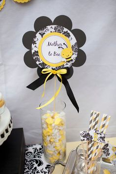 Mother to Bee - Baby Shower Damask Table Decoration Centerpiece. $12.00, via Etsy.