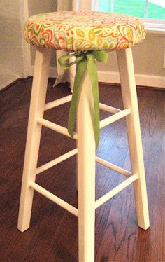 Stool Seat Cover tutorial - tenth avenue south A little DIY & DIY bar stool chair covers | Diy bar stools Diy bar and Stool covers islam-shia.org