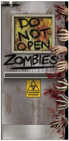 ZOMBIES LAB DOOR COVER A great decorative item for the front of your home or some inner door that the guests of your Halloween party might see! Really shows your sense of humour! Shows laboratory door with hands all over tr Halloween Classroom Door, Casa Halloween, Halloween School Treats, Fairy Halloween Costumes, Modern Halloween, Halloween Haunted Houses, Halloween Zombie, Haunted House Props, Halloween Quotes