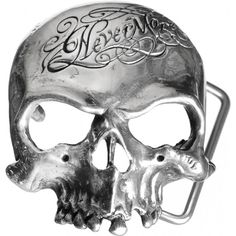 Nevermore Skull belt buckle by Alchemy Gothic, from the Edgar Allan Poe inspired line of jewelry.