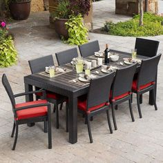 RST Brands Deco 9pc Dining Set Deco 9pc Dining Set with Cushions Cantina Red with Sunbrella Furniture Outdoor Furniture Outdoor Dining Sets