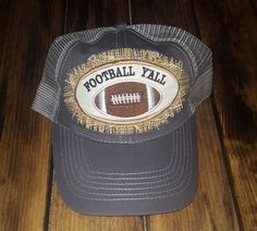Football Ya'll Burlap Patch Trucker Hat - Grey