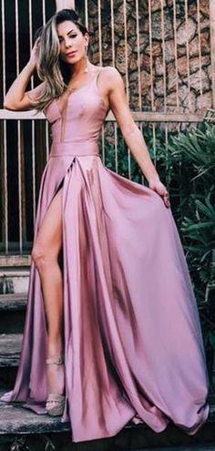 59b0efb12d Dusty Rose Spaghetti Strap Slit A-line Simple Cheap Prom Dresses.PD00254