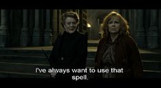 Prof. McGonagall after bringing the stone statues of Hogwarts Castle to live: I've always wanted to use that spell. - HP 7.2