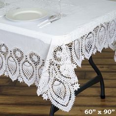 60 X90 Eco Friendly White 0 6mil Thick Disposable Waterproof Lace Vinyl Tablecloth Protector Cover