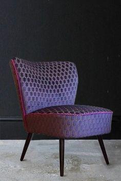Upcycled 1950s Bartholomew Cocktail Chair - Blackberry Bakerloo Velvet