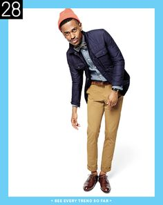 Smart look with a chambray shirt and CPO jacket.  The added contrast with the mustard colored pants and warm brown of the shoe and belt is perfect for medium contrast types.