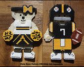 Black and Gold  Football Team Colors Player and Cheerleader Hunibears - Dress Up Dolls - Paper Dolls - Plastic Canvas - Cross Stitch