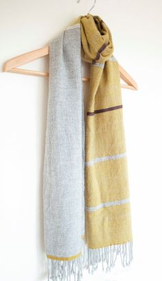 Mustard yellow scarf with grey and bordeaux cashmere mix handwoven. $110.00, via Etsy.