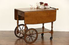 Ethan Allen Signed Vintage Maple Tea or Dessert Cart, Beverage Trolley | Post-1950 | Tables - Zeppy.io