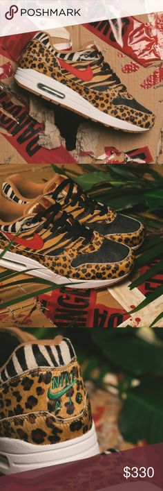 NIB Atmos x Nike Air Max 1 Animal 2.0 Fresh kicks in a fresh animal print. Authentic, brand new, never worn & still in box. Atmos x Nike Air Max Animal Print 2.0.  Size 6 men's so women's 7.5. I paid $260 + tax & shipping from a specialty boutique that curates street wear. It's a full size bigger than my normal size but I really wanted to add them to my collection. A day after ordering this one, I found one in my size & ordered a second pair so looking to sell this one.   Sold out! All laces…