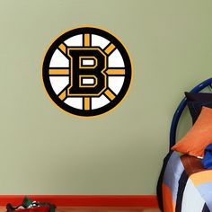 Fathead Jr. - Boston Bruins Logo Fathead Wall Graphic | Boston Bruins Wall Decal | Sports Home Decor | Hockey Bedroom/Man Cave/Nursery