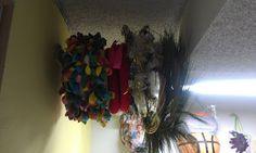 wreath storage on curtain rod...genius!