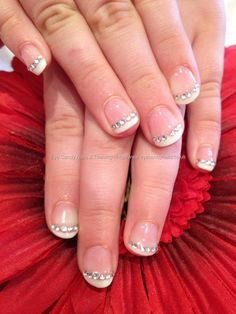 White gel polish with crystal nail art, maybe one finger with crystals as wedding nails?