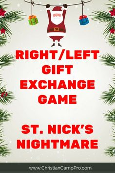 Left/Right Gift Game - Saint Nick's Nightmare - Christian Camp Pro right left gift exchange game nick nightmare Christmas Eve Quotes, Funny Christmas Games, Christmas Gift Exchange Games, Xmas Games, Its Christmas Eve, Christmas Games For Family, Family Fun Games, Holiday Games, Christmas Party Games