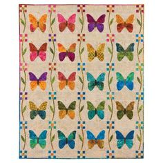 This project, GO! Butterfly Patch Quilt Pattern, begins with a glorious selection of colorful batiks of every shade and color that have been pre-cut.