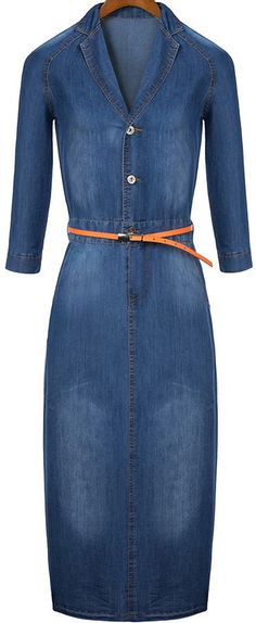 Half Sleeve Lapel With Buttons Denim Dress