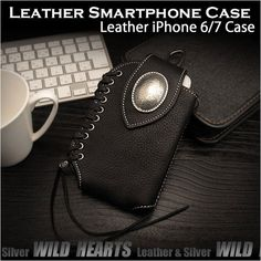 leather/iPhone6/case/wild/hearts/leather/silver