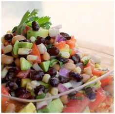 Refreshments from RS Activity - Cowboy Caviar 1 can black beans (rinsed), 1 can black-eyed peas (rinsed), 1 c chopped cilantro, 1 med purple onion (chopped), 4-5 roma tomatoes (chopped), 2 avocados (diced), 1 small bag frozen corn, (thawed), juice of 1 lime, 8 oz bottle zesty Italian dressing