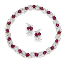 Ruby and Diamond Necklace and Pair of Matching Earrings