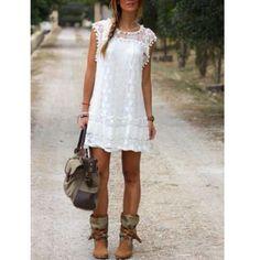 Casual Solid Short Sleeve Slim Lace Mini Dress 2 Colors Sizes Small thru XXXL - Savage Garb