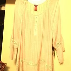 Gorgeous 3/4 sleeve cream colored blouse Multiples blouse with lace trim around bottom of blouse & on 3/4 ruffle sleeves. New with tags. Size 24 Multiples Tops Blouses