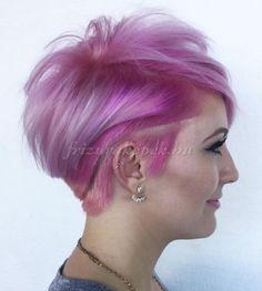 felnyírt női frizurák - felnyírt frizura rózsaszín hajból