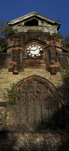 Agecroft Cemetery & Crematorium Mortuary Chapel, Salford, England, UK (I think there are still tenants in there. Abandoned Churches, Old Churches, Abandoned Mansions, Derelict Places, Abandoned Places, Art Nouveau, Haunted Places, Old Buildings, Gothic