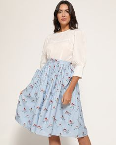 'Adalene' is back and available in a snowy robin print. Perfect for the upcoming Autumn season. Victory Roll Hair, Tweed, Robin, Swing Rock, Roll Hairstyle, Swing Skirt, Vintage Skirt, Flare Skirt, Get The Look