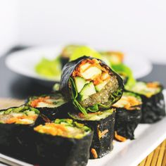 Raw Sushi Rolls with Kelp Noodles and Tahini Soy Dipping Sauce