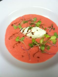 Strawberry Soup - served with smoked mozzarella mousse, micro basil ...