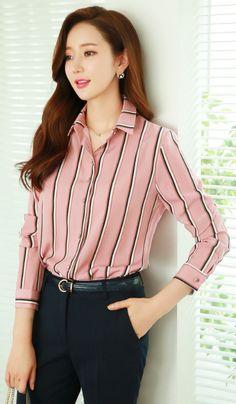 StyleOnme_Pinstripe Collared Blouse #pink #blouse #pinstripe #feminine #elegant #officelook #koreanfashion #seoul #kstyle #kfashion #springtrend