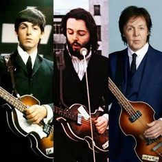 Three different pictures of Paul McCartney throughout three different times doing what he does best.