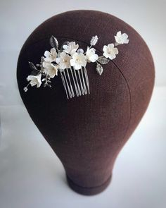 Wedding Hair Piece Floral, Bridal Hair Comb Silver, Hair Accessory for Bride, Gold Headpiece Flower, Floral Wedding Hair, Wedding Hair Pins, Wedding Hair Flowers, Flowers In Hair, White Flowers, Clay Flowers, Gold Headpiece, Flower Headpiece, Flower Hair Pieces