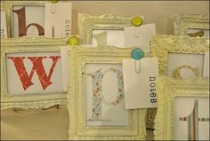 teachers gifts...spray painted Dollar Store frames. Why don't I see frames that cute when I shop there?!