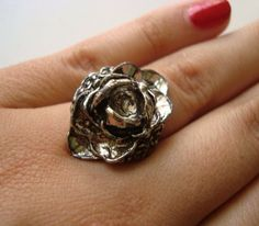 Vintage 1970's Rose Ring SILVER TONED by Aquanetta on Etsy, $8.50