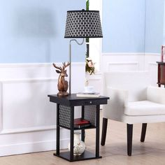 2 In1 Floor Lamp Side Table With Patterned Shade And USB Ports