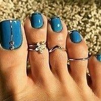 Wish   3 Pcs/set Women Fashion Beach Jewelry Bohemia Small Daisy Flowers Diamond Foot Ring (Color: Silver)
