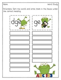 This Words Their Way inspired word sort features words ending in -dge and -ge. I have included 16 words to sort, a recording sheet, and the homewor...