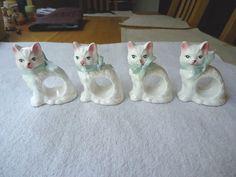 Vintage Set Of 1983 RGD Ceramic Cat Napkin Holders