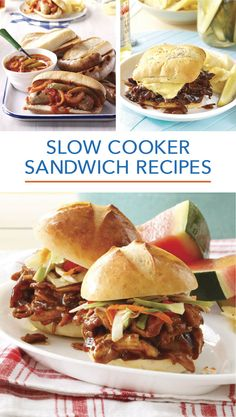 From pulled pork to sloppy joes, french dip sandwiches Crockpot Dishes, Crock Pot Slow Cooker, Crock Pot Cooking, Slow Cooker Recipes, Crockpot Recipes, Cooking Recipes, Pie Recipes, Crock Pot Sandwiches, Sammy