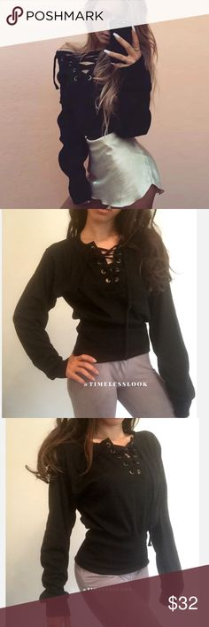 """Lush black v neck lace up loungy sweater •brand new  •ships tomorrow •brand : TIMELESS look boutique  •no trades  • top quality  - form fitting fit - offers great stretch  •true to size     Model: goguios in insta 📸 (account manager) modeling XS in pic 2-4  Please visit """"Closet Rules"""" for more info about us :) Sweaters V-Necks"""