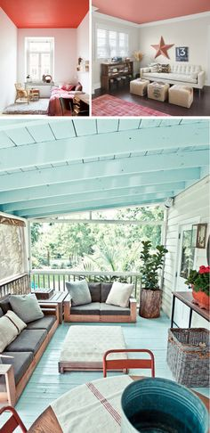 I think I want to paint the porch ceiling a medium aqua.  Thoughts anyone? The walls will be white, the floor dark grayish indoor/outdoor carpet.
