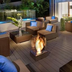 Hotel Roof Garden With Living Space Using Glass Fence Adorned Fireplace In Glass Container Stunning Boutique hotel Interior Design Architecture Home design Outdoor Living Rooms, Outdoor Spaces, Living Spaces, Lombok, Outdoor Patio Designs, Outdoor Decor, Patio Ideas, Indoor Outdoor Fireplaces, Fireplace Outdoor