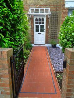 London Garden Design - Page 14 of 36 - Garden Design Front Garden Path, Front Path, Front Gardens, Garden Paths, Victorian Front Garden, Garden Tiles, Quarry Tiles, Planting Shrubs, Edwardian House