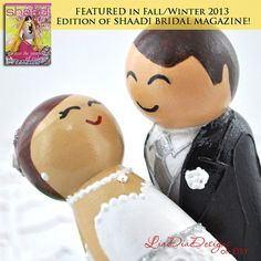Ready to Ship Cake Topper  Cute Modern Bride and by LiaDiaDesigns #caketoppers #brideandgroom #weddingcaketoppers #pegdolls #peggies #ooaktoppers #collectibledolls #custommadetoppers #personalizedweddingideas #weddingwhimsy #cutetoppers #engagementgiftidea #2014wedding