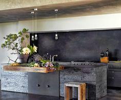 Concrete wood & metal kitchen